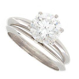 Tiffany & Co. Platinum & 1.05ct Diamond Solitaire Engagement Ring Set Size 4