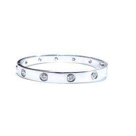 Cartier Love 18K White Gold & 0.96ct Diamonds Bracelet Size 16