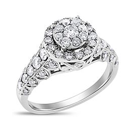14k White Gold 1.00 Ct. Natural Diamond Vintage Style Illusion Halo Ring Size 6.5