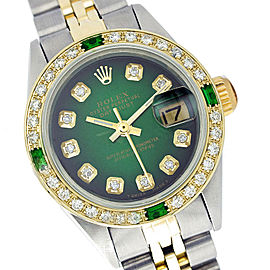 Rolex Datejust 6917 Yellow Gold Diamond and Emerald 26mm Womens Watch