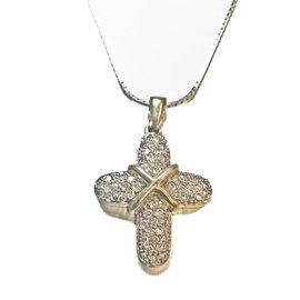 14K Yellow Gold & Diamond Cross Pendant Necklace