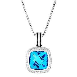 David Yurman Sterling Silver Albion Blue Topaz Diamonds Pendant Enhancer Necklace