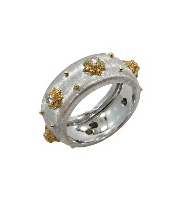 "Image of ""Buccellati Macri 18K White Gold & Diamond Band Ring Size 6.75"""