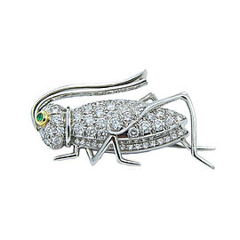 Tiffany & Co. Grasshopper Platinum with Emerald & Diamond Brooch