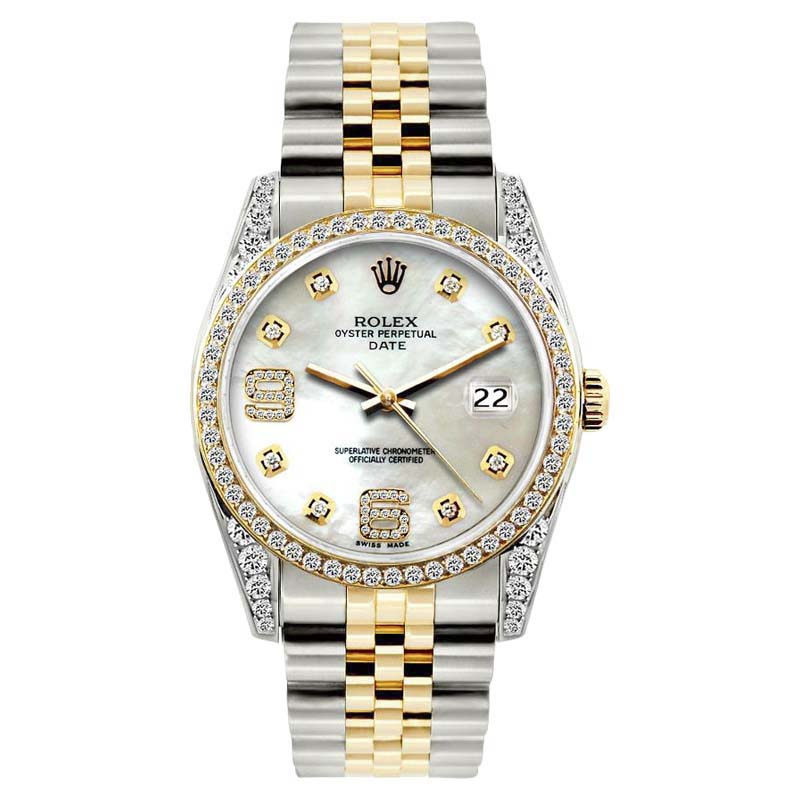 "Image of ""Rolex Date White Mother of Pearl Dial Stainless Steel & Yellow Gold"""