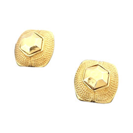 Chanel Gold Tone Hardware Clip On Round Earrings