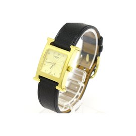 Hermes H Watch HH1.201 Gold Plated and Leather Quartz 21mm Womens Watch