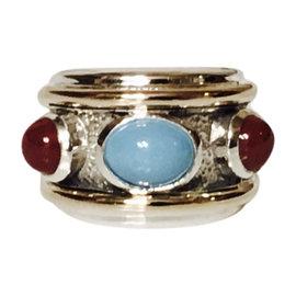 David Yurman Sterling Silver & 14K Yellow Gold Three Stone Renaissance Ring 7