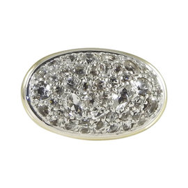 John Hardy 925 Sterling Silver 18K Yellow Gold White Topaz Batu Sari Ring Size 7