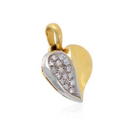 Damiani 18K White & Yellow Gold Diamond Pave Heart Pendant