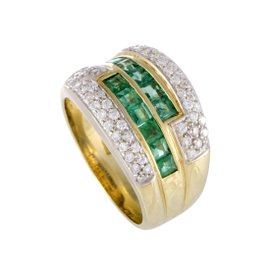 Damiani 18K Yellow Gold with Diamond and Emerald Band Ring Size 7.75