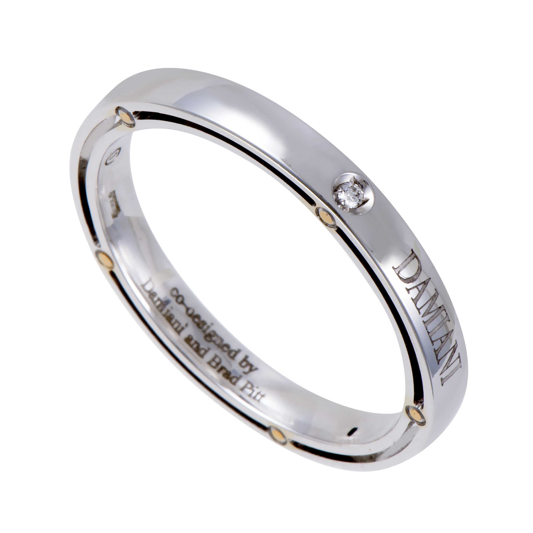 "Image of ""Damiani 18K White Gold & Diamond Band Ring Size 10.75"""