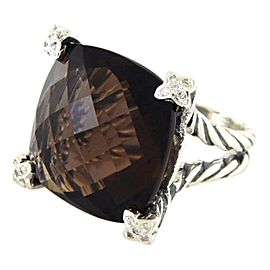 David Yurman Sterling Silver Smokey Topaz & Diamonds Ring