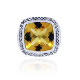 David Yurman Citrine Albion .44ctw Diamond Ring