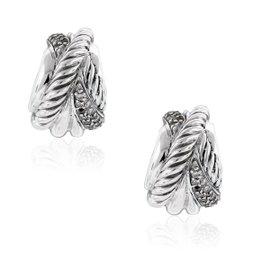 David Yurman Sterling Silver & Diamonds Crossover Earrings
