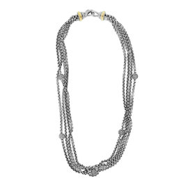David Yurman Two Tone Multi Strand Diamond Necklace