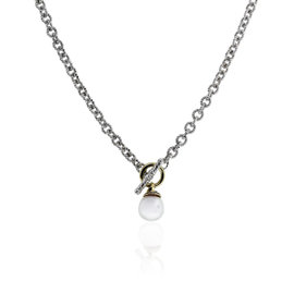 David Yurman Sterling Silver & 18K Yellow Gold Pearl Drop Necklace
