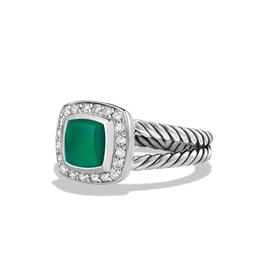 David Yurman Sterling Silver Green Onyx & 0.17ct Diamond Albion Ring Sz 7