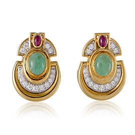 David Webb Womens 18K Yellow and White Gold Precious Gemstone Clip-on Earrings