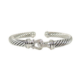 David Yurman Cable Sterling Silver 0.18 Ct Paved Diamond Buckle Bracelet