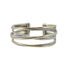 David Yurman Sterling Silver and 18K Yellow Gold Bonded 4-Row Crossover Cuff Bracelet