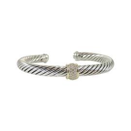 David Yurman Cable Classics Sterling Silver and 18K Yellow Gold 0.21 Ct Paved Diamond Bracelet