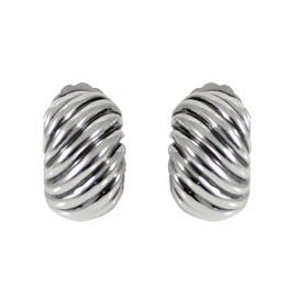 David Yurman Sterling Silver Cable Hoop Huggie Earrings