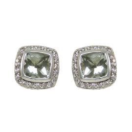 David Yurman Sterling Silver Prasiolite Diamond Petite Albion Earrings