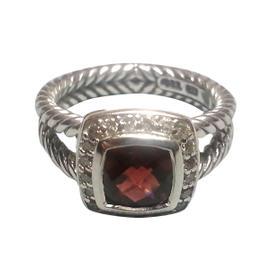 David Yurman Petite Albion Sterling Silver Pyrope Garnet & Diamonds Ring Size 8