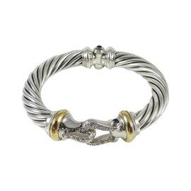 David Yurman 925 Sterling Silver 18K Yellow Gold 0.46tcw Thoroughbred Cable Diamond Buckle Bracelet