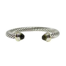 David Yurman Sterling Silver 14K Yellow Gold 7mm Lemon Citrine Color Classics Cable Bracelet