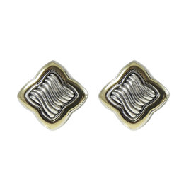 David Yurman Sterling Silver 18K Yellow Gold Large Quatrefoil Earrings