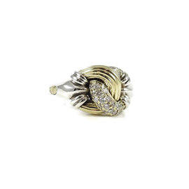 Lagos Sterling Silver 18K Yellow Gold 0.54ct. Diamond Knot Ring Size 7