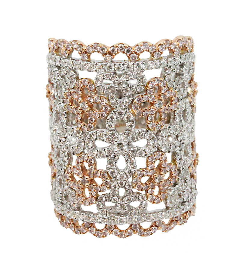"""Image of """"18K White Gold With White & Pink 2.42tcw Diamonds Ring Size 7"""""""