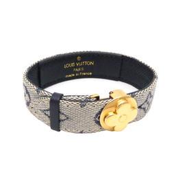 Louis Vuitton Gold Tone Metal Canvas Bracelet