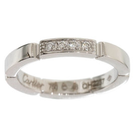Cartier 18K White Gold Mailon Panthere Diamonds Ring Size 4.5