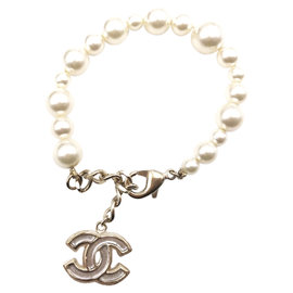 Chanel Gold Tone Hardware with Enamel and Faux Pearl CC Clear Bracelet