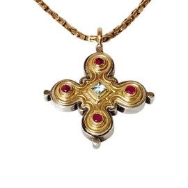Gerochristo 925 Sterling Silver & 18K Yellow Gold Blue Topaz & Ruby Byzantine Cross Pendant