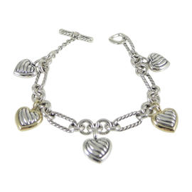 David Yurman Sterling Silver 18K Yellow Gold Thoroughbred Multi Heart Charm Bracelet