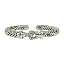 David Yurman Sterling Silver & 0.18ct Diamond Cable Buckle Bracelet