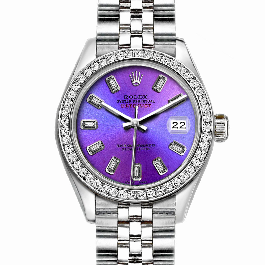 """Image of """"Rolex Datejust Stainless Steel with Orchid Purple Dial 26mm Womens"""""""