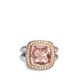 David Yurman Albion Sterling Silver & 18K Rose Gold Morganite & Diamonds Ring Size 7