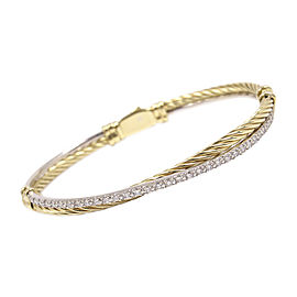 David Yurman 18K Yellow and White Gold 0.50ct Diamond Cable Crossover Bracelet