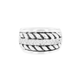 David Yurman 925 Sterling Silver Diamond Thoroughbred Sculpted Cable Ring Size 6.75