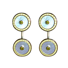 Deakin & Francis 18K Yellow Gold, Gold Enamel White Mother of Pearl & Diamond Cufflinks