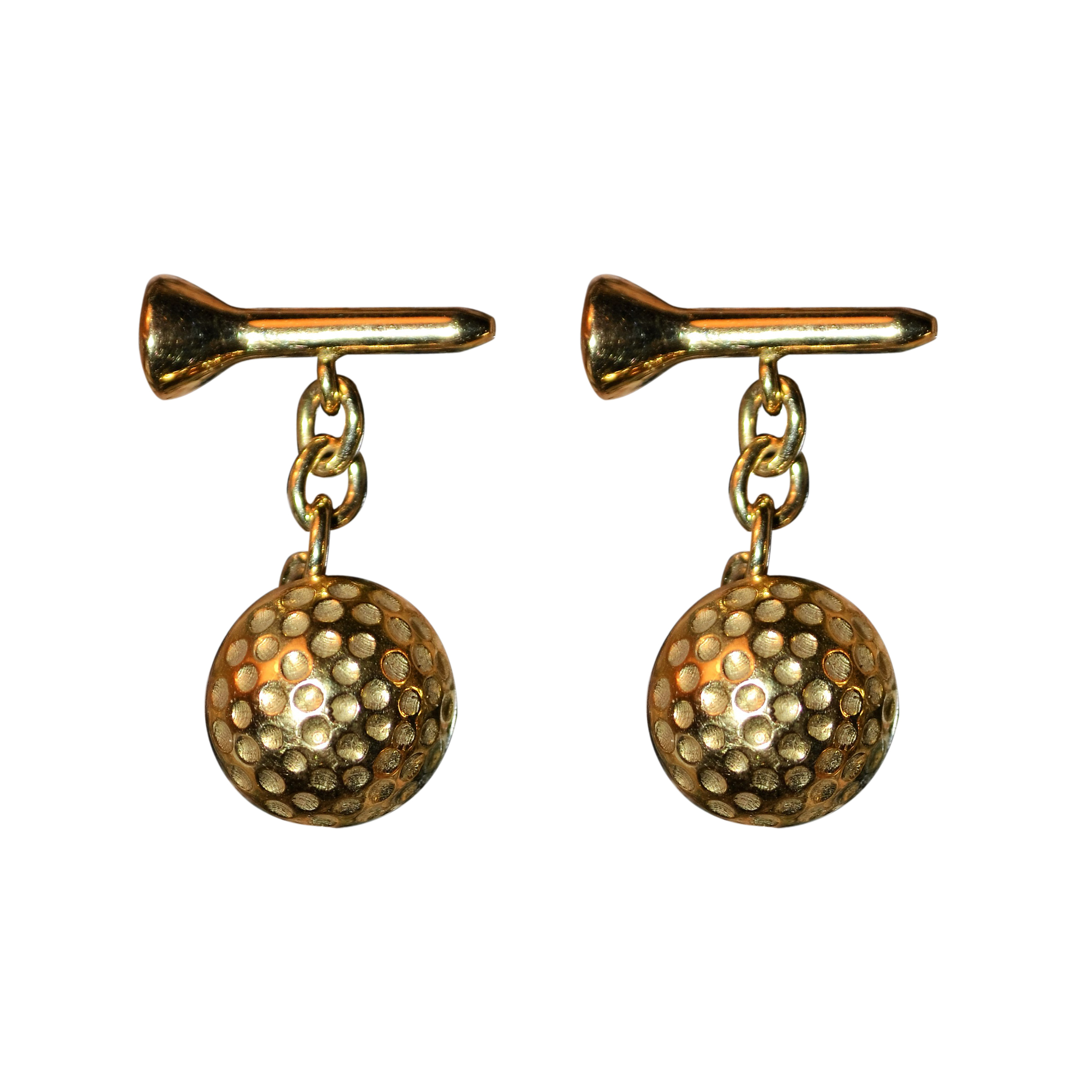 "Image of ""Deakin & Francis 18K Yellow Gold Golf Ball and Tee Cufflinks"""