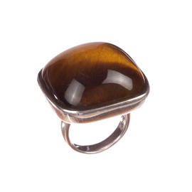 Massive Sterling Silver Tiger Eye Cabochon Cocktail Ring