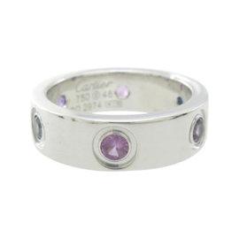Cartier Love 18k White Gold Sapphire Aquamarine Ring Size 4.5