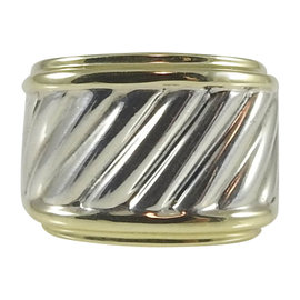 David Yurman Sterling Silver & 14K Yellow Gold Thoroughbred Cable Cigar Band Ring Size 6