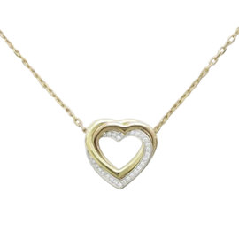 Cartier 18K Yellow and White and Rose Gold Trinity Heart Necklace